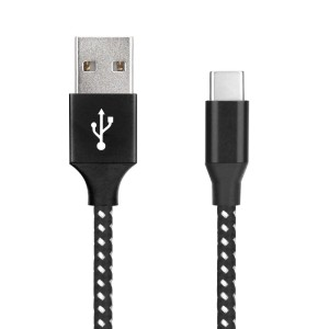 KABEL USB NYLON TYP C 1M BLACK 899170