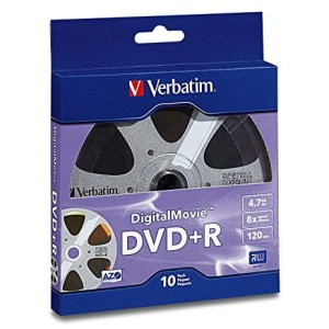 VERBATIM DVD+R DIGITALMOVIE 8X 10PK BULK 96857