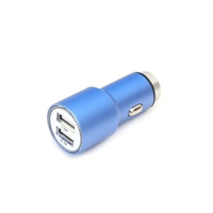 OMEGA CAR CHARGER METAL 2*USB 2.1A BLUE 43343