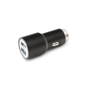 OMEGA CAR CHARGER METAL 2*USB 2.1A BLACK 43342