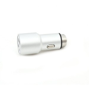 OMEGA CAR CHARGER METAL 2*USB 2.1A SILVER 43344