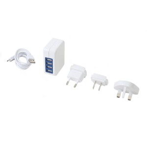 OMEGA CHARGER 4-PORT USB 4A US+EU+UK WHITE 42674